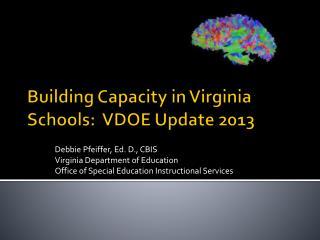 Building Capacity in Virginia Schools:  VDOE Update 2013