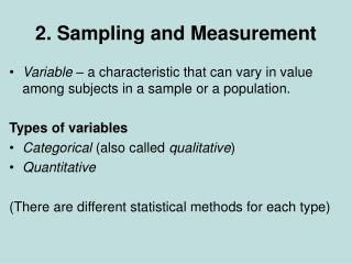 2. Sampling and Measurement