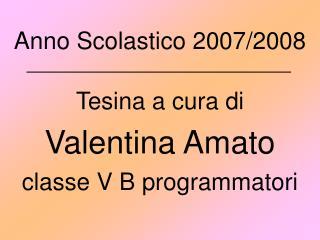 Anno Scolastico 2007/2008 Tesina a cura di Valentina Amato classe V B programmatori