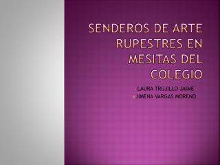 SENDEROS de arte RUPESTRES EN MESITAS DEL COLEGIO