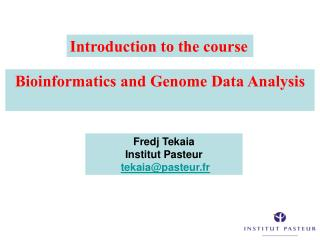 Bioinformatics and Genome Data Analysis