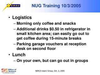 NUG Training 10/3/2005
