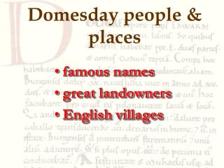 Domesday people  places