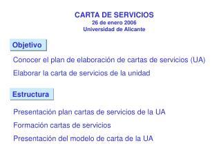 CARTA DE SERVICIOS 26 de enero 2006 Universidad de Alicante