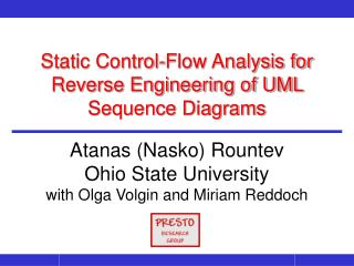 Static Control-Flow Analysis for Reverse Engineering of UML Sequence Diagrams