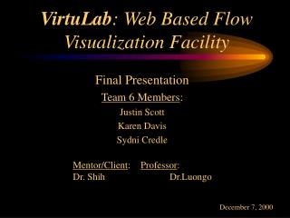 VirtuLab: Web Based Flow Visualization Facility