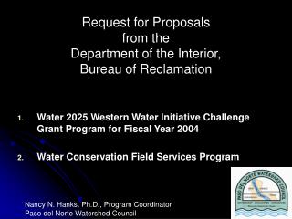 Request for Proposals  from the  Department of the Interior,  Bureau of Reclamation