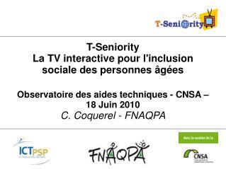 T-Seniority La TV interactive pour l'inclusion sociale des personnes âgées
