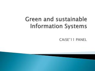 Green and  sustainable  Information  Systems