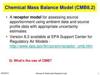 Chemical Mass Balance Model ( CMB8.2)