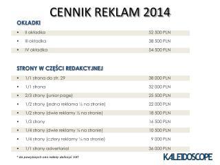 CENNIK REKLAM 2014