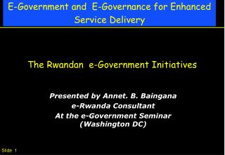The Rwandan  e-Government Initiatives