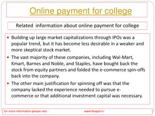 Advantages of online payment for college