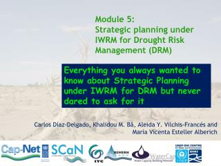 Module 5: Strategic planning under IWRM for Drought Risk Management (DRM)