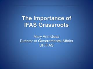 The  Importance of  IFAS  Grassroots Mary Ann Gosa Director of Governmental Affairs UF/IFAS