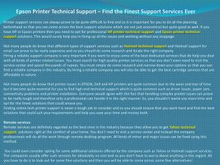 Epson Printer Technical Support – Find the Finest Support Se