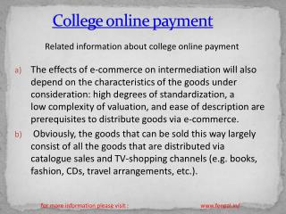 Tips on going to a college online payment