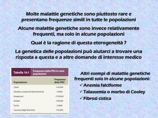 Altri esempi di malattie genetiche frequenti solo in alcune popolazioni: Anemia falciforme