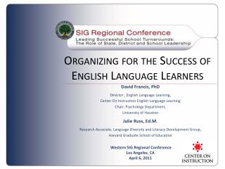 Organizing for the Success of English Language Learners