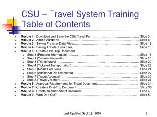CSU – Travel System Training Table of Contents