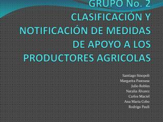 GRUPO No. 2 CLASIFICACIÓN Y NOTIFICACIÓN DE MEDIDAS DE APOYO A LOS PRODUCTORES AGRICOLAS