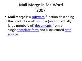 Mail Merge in Ms-Word 2007