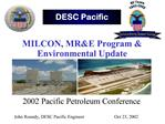 MILCON, MRE Program  Environmental Update