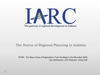 The Status of Regional Planning in Indiana