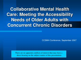 Collaborative Mental Health Care: Meeting the Accessibility Needs of Older Adults with Concurrent Chronic Disorders
