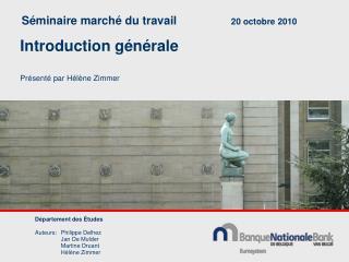 Séminaire marché du travail 20 octobre 2010