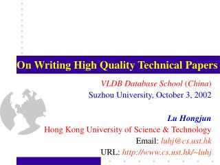 On Writing High Quality Technical Papers