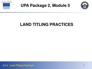 UPA Package 2, Module 5