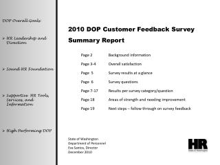 2010 DOP Customer Feedback Survey Summary Report