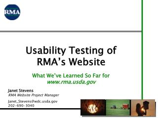 Usability Testing of RMA's Website