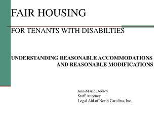 FAIR HOUSING    FOR TENANTS WITH DISABILTIES