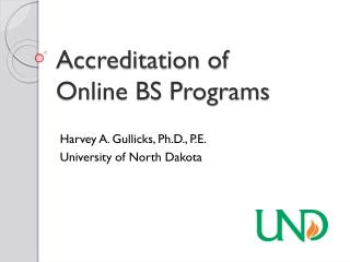 Accreditation of  Online  BS Programs