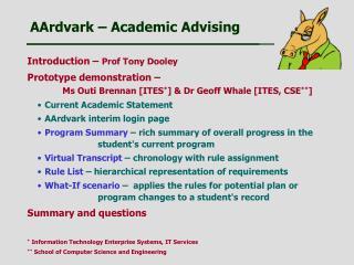 AArdvark   Academic Advising
