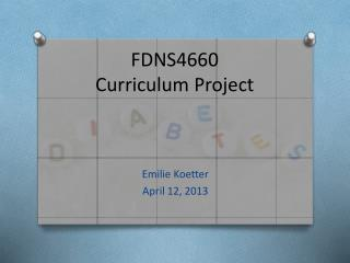 FDNS4660 Curriculum Project