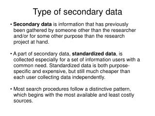 Type of secondary data