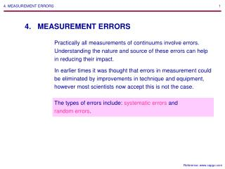 4. MEASUREMENT ERRORS