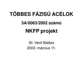 T�BBES F�ZIS� AC�LOK 3A/0063/2002 sz�m� NKFP projekt