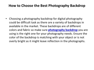 How to Choose the Best Photography Backdrop