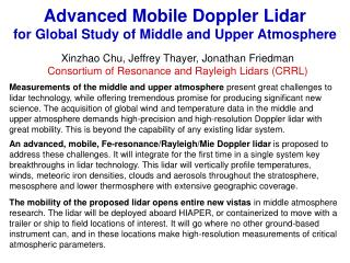 Advanced Mobile Doppler Lidar  for Global Study of Middle and Upper Atmosphere
