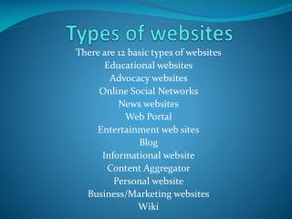Types of websites