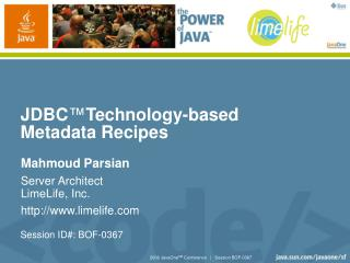 JDBC ™ Technology-based Metadata Recipes
