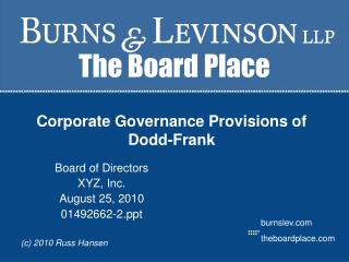 Corporate Governance Provisions of Dodd-Frank