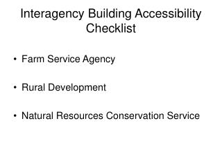 Interagency Building Accessibility Checklist