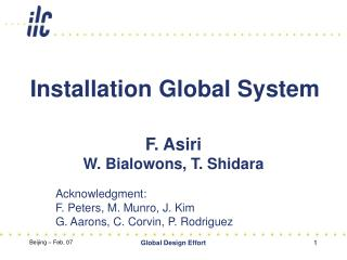 Installation Global System