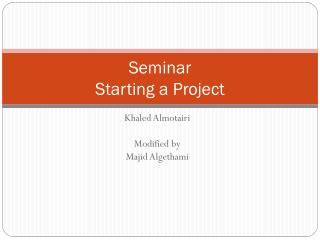 Seminar Starting a Project
