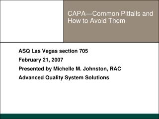 CAPA—Common Pitfalls and How to Avoid Them